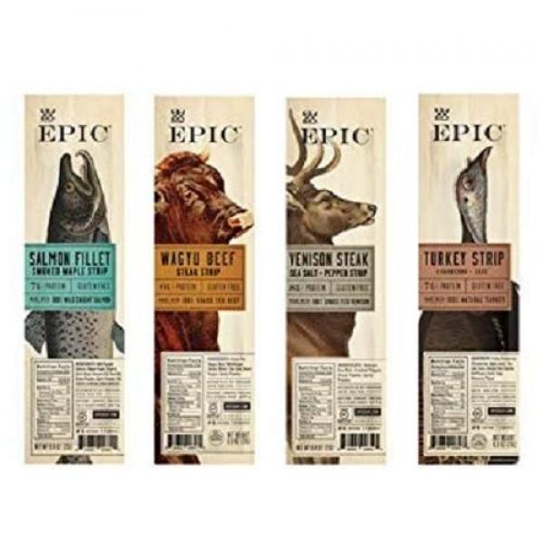Epic Snack Strips, Paleo Jerky: Wagyu Beef, Turkey Cranberry, Ve...
