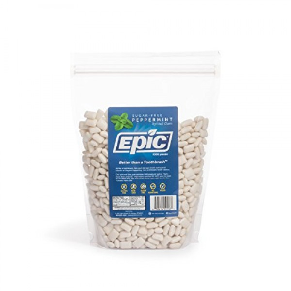 Epic Dental 100% Xylitol Sweetened Gum Peppermint, 1000-Count B...