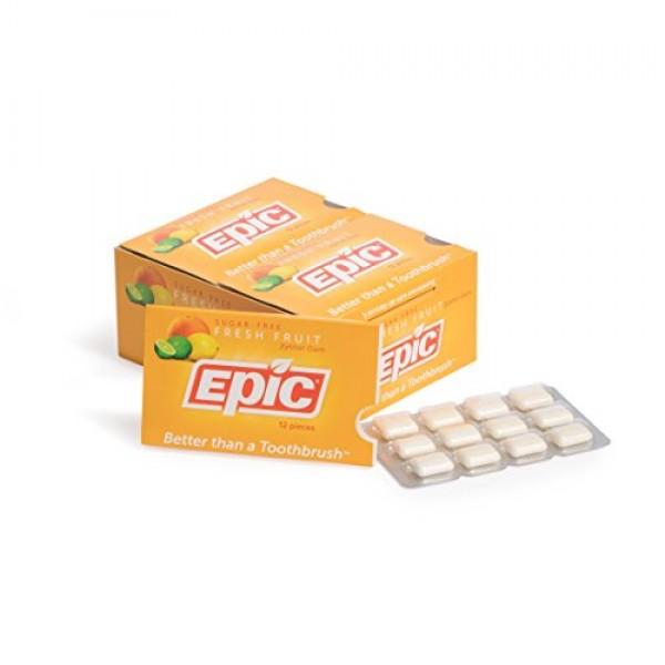 Epic Dental 100% Xylitol Sweetened Gum Fresh Fruit, 12-Count Bl...