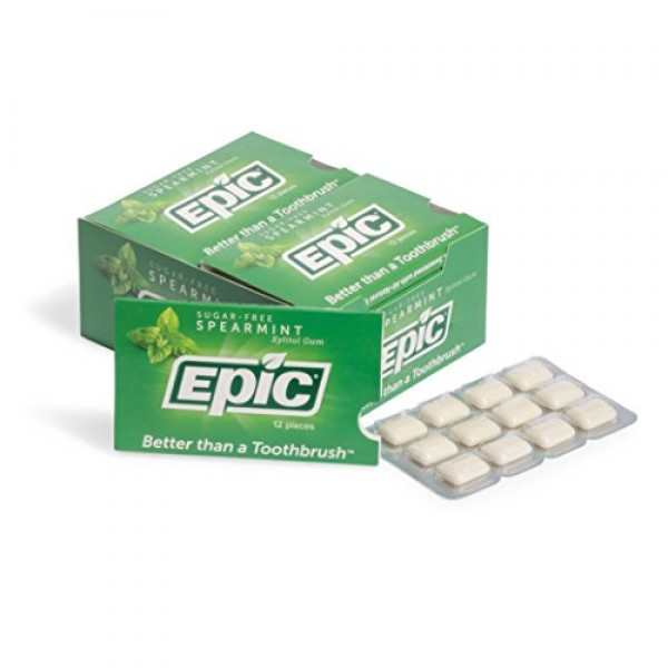 Epic Dental 100% Xylitol Sweetened Gum Spearmint, 12-Count Blis...