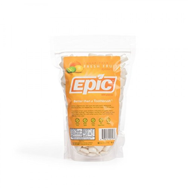 Epic Dental 100% Xylitol Sweetened Gum Fresh Fruit, 500-Count B...