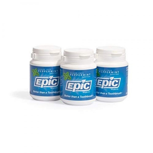 Epic Dental 100% Xylitol Sweetened Gum Peppermint, 50-Count Bot...
