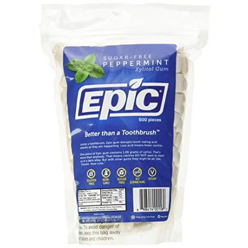 Epic Dental 100% Xylitol Sweetened Gum Peppermint, 500-Count Bu...
