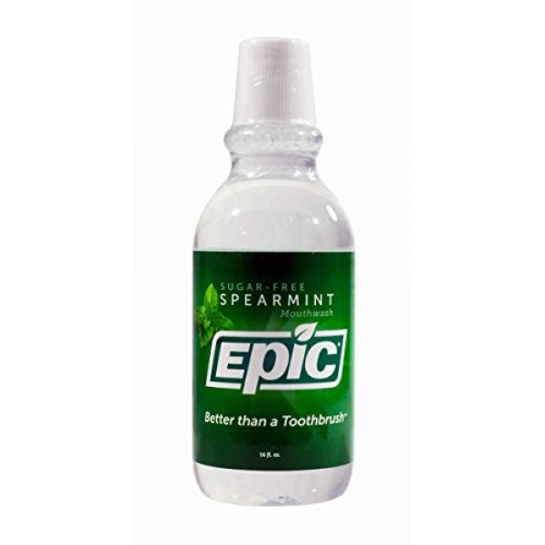 Epic Xyitol Spearmint Flavored Mouthwash, 16-Ounce Pack of 2