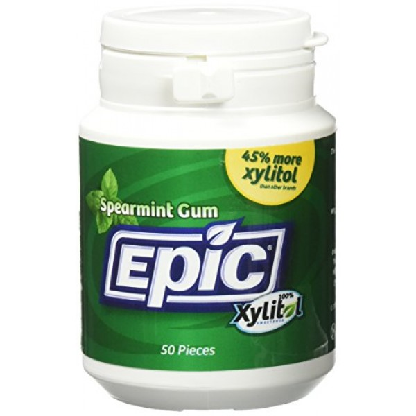 Epic Xylitol Sweetened Spearmint Gum, 50 Count