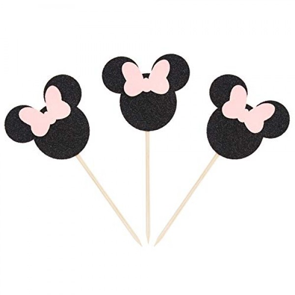 Newqueen 24 Pack Minnie Mouse Inspired Cupcake Toppers with Pink...