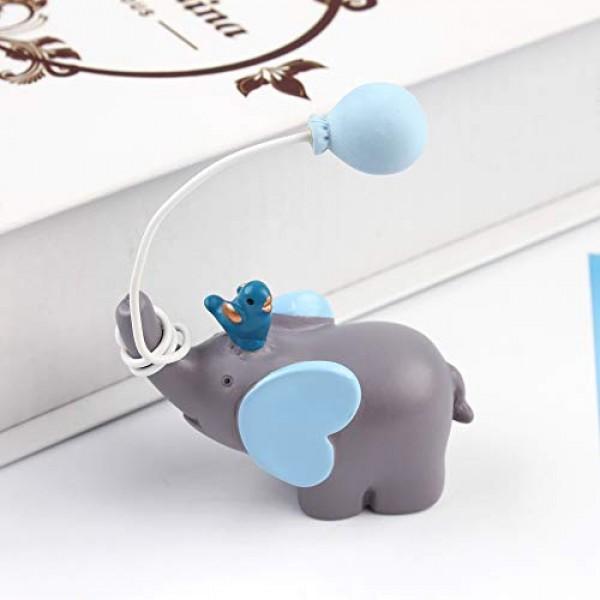 Ercadio Blue Balloon Lucky Elephant Cake Topper Resin Little Fig...