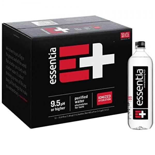 Essentia Water; Twenty Four 24 1-Liter Bottles; Ionized Alkali...