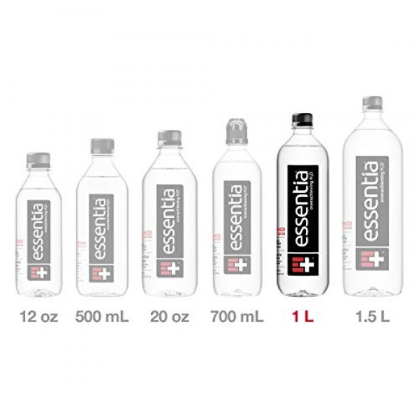 Essentia Bottled Water, 1 Liter, Pack of 12 Bottles; 99.9% Pure,...