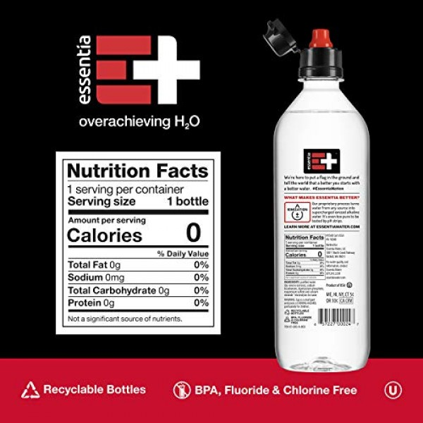 Essentia Bottled Water, 700 mL, Pack of 24 Bottles; 99.9% Pure, ...