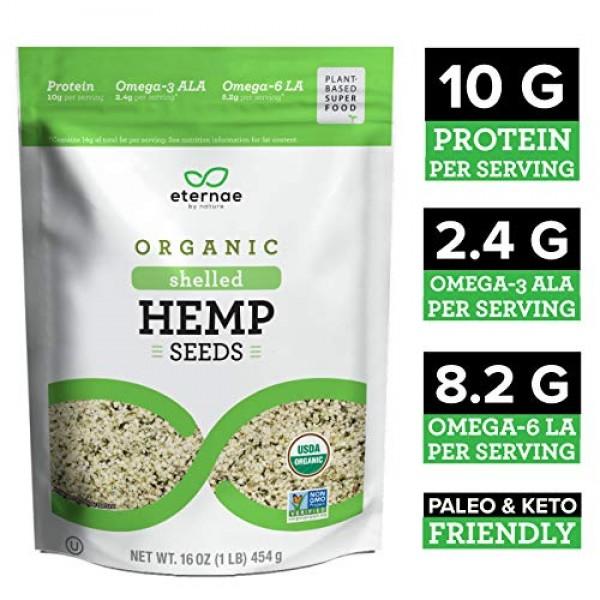 Eternae By Nature Organic Raw Shelled Hemp Seeds, 16 Oz - Non-GM...