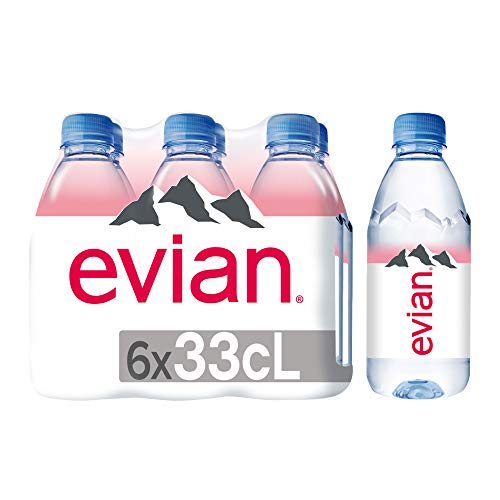 evian Natural Spring Water 330 mL 6-Count Pack of 4, Bottled N...