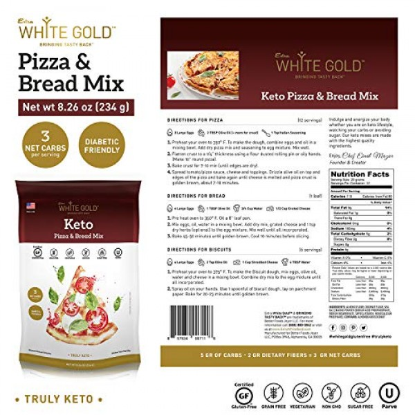 Extra White Gold Keto Pizza Crust Mix and Keto Bread Mix - Low C...