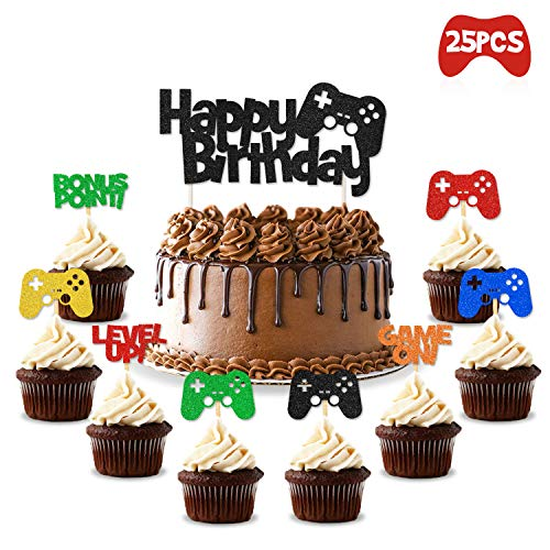 Video Gaming Party Cake & Cupcake Toppers Gamer Party Supplies V...