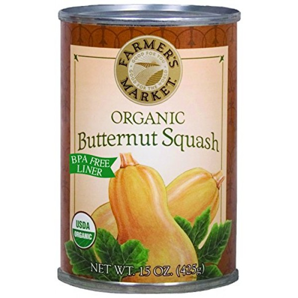 Farmers Market Foods Canned Organic Butternut Squash Puree, 15-...