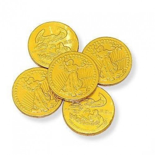 Large Gold Milk Chocolate Foil Coins - 1 Pound
