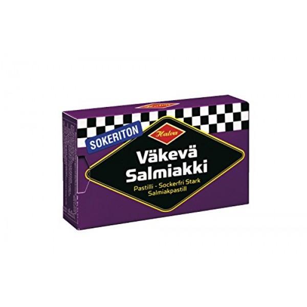 4 Boxes x 34g of Halva Sokeriton Väkevä Salmiakki - Original - F...
