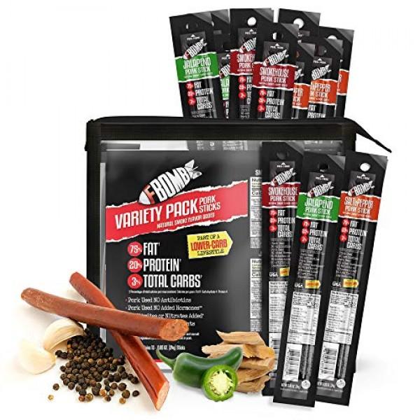FBOMB Keto Meat Sticks - Sugar Free, Healthy Jerky Sticks   100%...