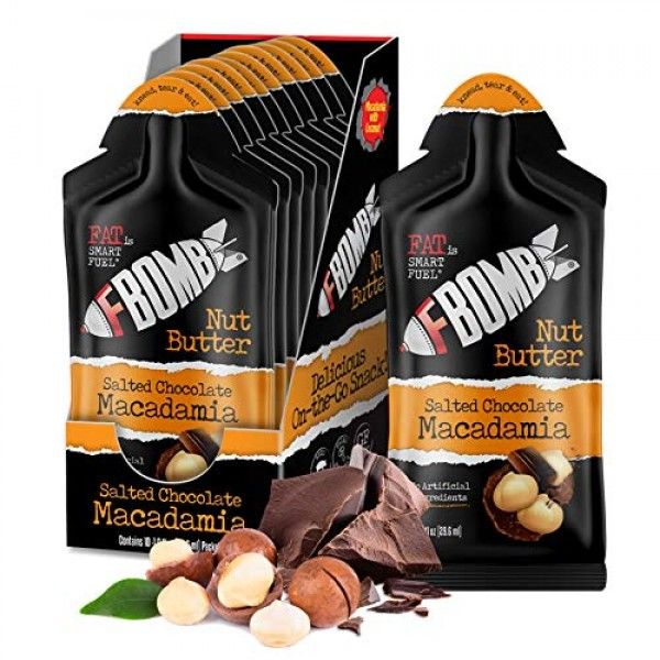 FBOMB Macadamia Nut Butter Packets: Salted Chocolate 10 Pack, ...