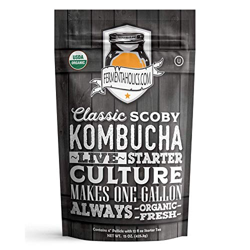 Fermentaholics ORGANIC Kombucha SCOBY With Twelve Ounces of Star...