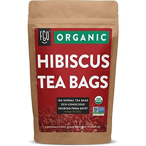 Organic Hibiscus Tea Bags | 100 Tea Bags | Eco-Conscious Tea Bag...