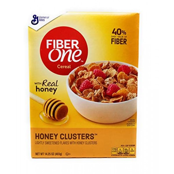 Fiber One Honey Clusters Lightly Sweetened Flakes 14.25 Oz. Pack...