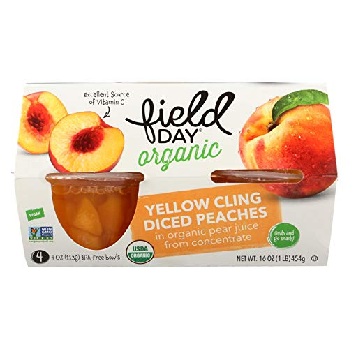 Peaches, 95% organic, Diced, Cups , 4/4oz pack of 6