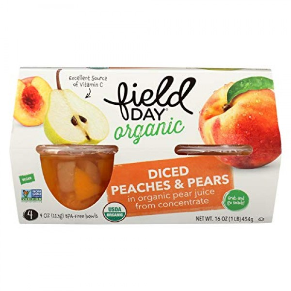 Field Day Organic Diced Peaches and Pear, 4 Ounce - 4 per pack -...