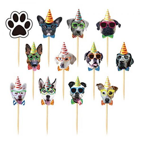 Finduat 24Pcs Dog Cupcake Toppers, Cute Cartoon Dog Head Cake Cu...