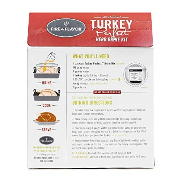 Fire & Flavor All Natural Turkey Perfect Herb Brine Kit, Perfect...
