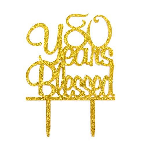 FirefairyTM 80 Years Blessed Acrylic Cake Topper 80th Birthday...