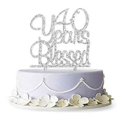 40 Years Blessed Acrylic Cake Topper 40th Birthday/Anniversary P...