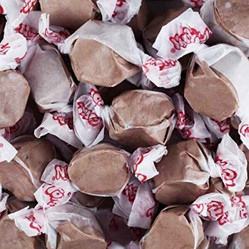 Chocolate Flavor Salt Water Taffy Soft Brown Wrapped Chewy Candy...