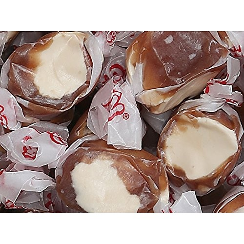 Chocolate Malt Flavor Taffy Brown-Cream Soft Wrapped Chewy Candy...