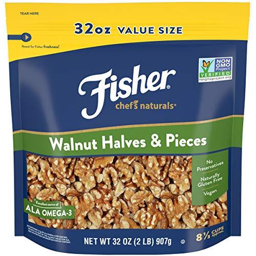 FISHER Chefs Naturals Walnut Halves & Pieces, 32 oz, Naturally ...