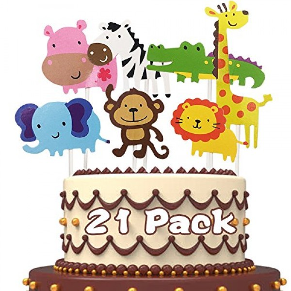 FishMM 21pcs Cute Zoo Animal Cupcake Toppers Picks,Jungle Animal...