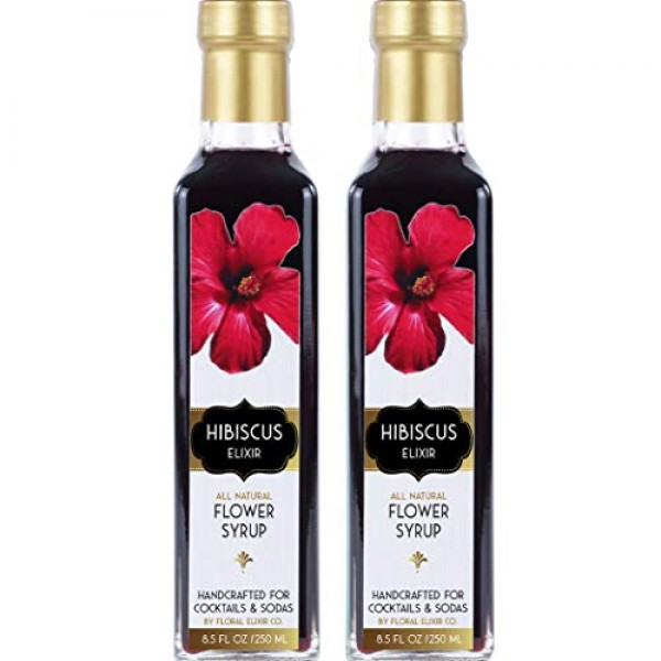 2 Pack All Natural Hibiscus Flower Syrup for Cocktails & Sodas