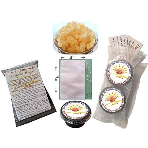2x 1/4 Cup Genuine Original Water Kefir Grains Brewing Tea Bag...