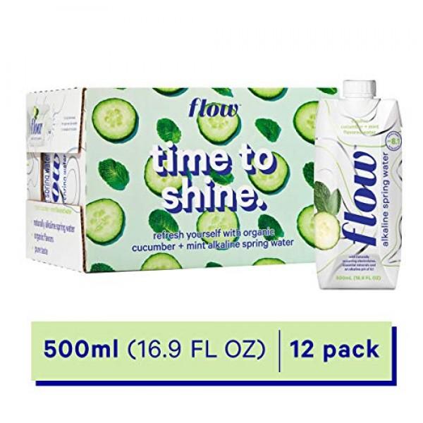 Flow Alkaline Spring Water, Organic Cucumber + Mint, 100% Natura...