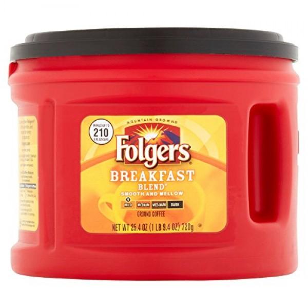 Folgers Breakfast Blend Ground Coffee Mild, 25.4 oz Pack of 5