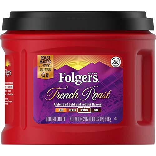 Folgers French Roast Ground Coffee, Medium-Dark Roast, 24.2 Ounc...