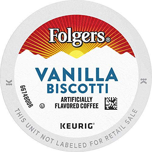 Folgers Vanilla Biscotti Flavored Coffee, 12 K Cups for Keurig C...