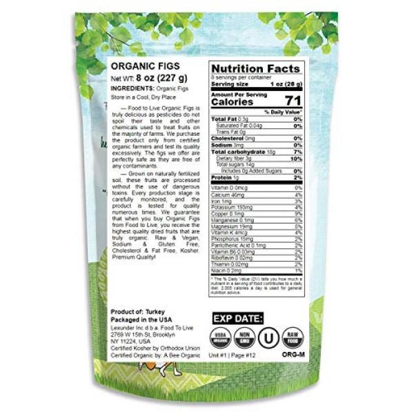 Organic Figs, 8 Ounces - Non-GMO, Kosher, Raw, Vegan