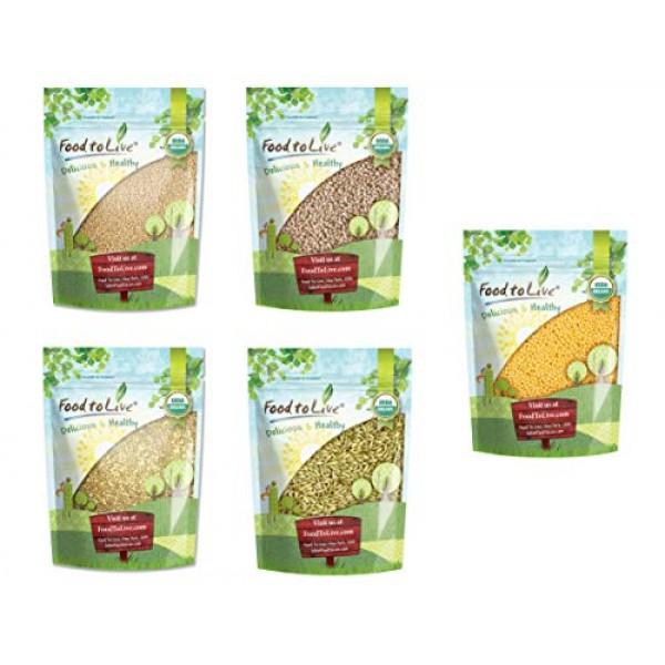 Organic Grains in a Gift Box - Amaranth Seeds, Hulled Barley, Bu...