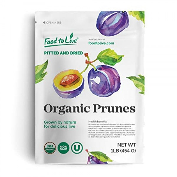 Organic Pitted Prunes, 1 Pound — Dried California Plums, Non-GMO...