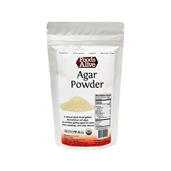 Agar Agar Powder, Organic, Plant-Based, Vegan Gelatin, 2oz, Vege...