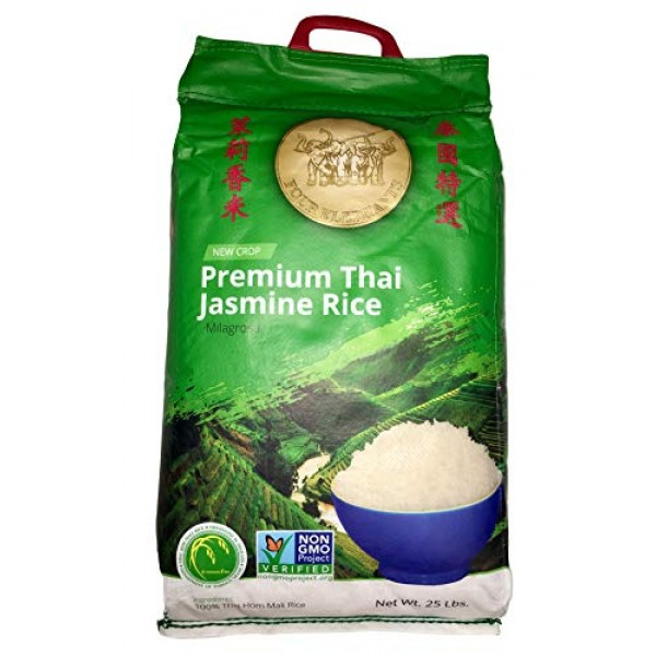 Four Elephants Premium Thai Jasmine Rice Certified Non-GMO 25 lbs