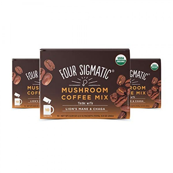 Four Sigmatic Mushroom Coffee Lions Mane and Chaga Pack of 3 3...