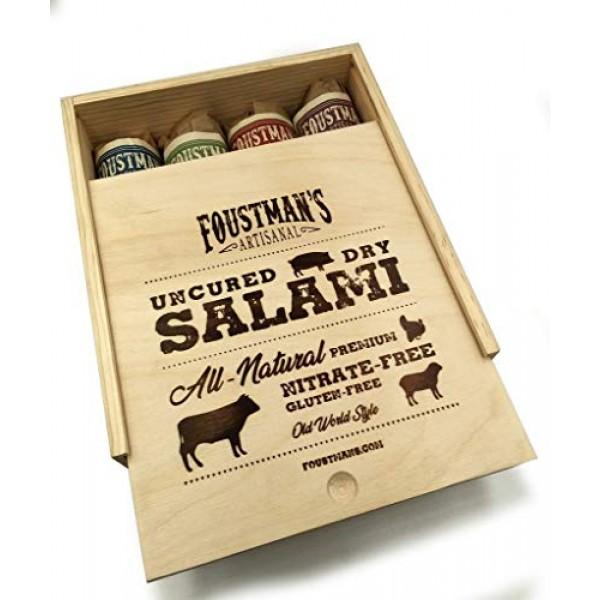 Foustmans Salami Wooden Gift Box, Artisan, Nitrate-Free, Natura...