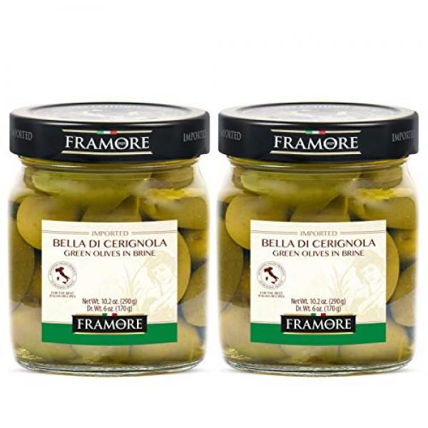 FRAMORE, Bella di Cerignola green olives in brine 10.2 Oz 2X- ...